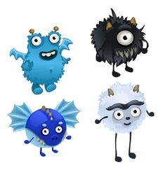 Set of four cute furry monster isolated vector