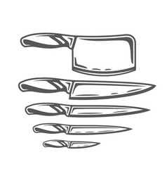set of knives isolated on white background vector image