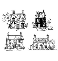 set of pretty english cottages drawing vector image