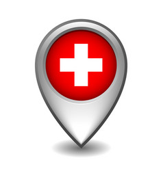 silver metal map pointer with switzerland flag vector image
