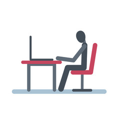 Stick figure sits at table with a laptop vector