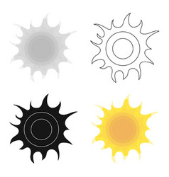 sun icon in outline style isolated on white vector image