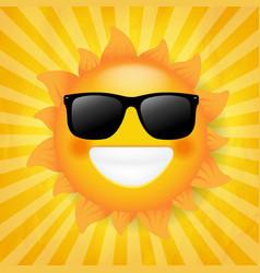 sun with sunglasses isolated sunburst background vector image