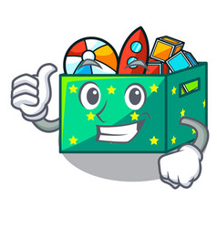 thumbs up cartoon toy boxes in a bedroom vector image