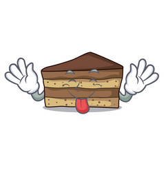 tongue out tiramisu mascot cartoon style vector image