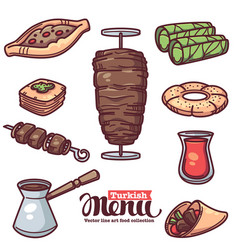 Traditional turkish food line art objects vector