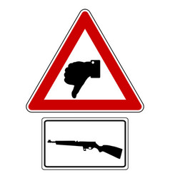Traffic sign thumbs down for shooting vector