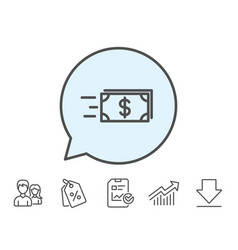 Transfer cash money line icon banking vector
