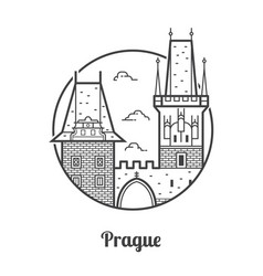 Travel prague icon vector