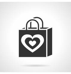 Valentines day shopping bag black icon vector image