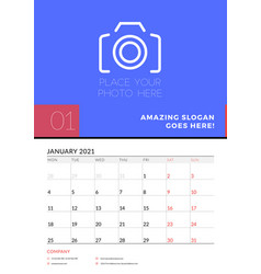 wall calendar planner template for january 2021 vector image