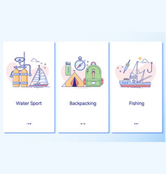 water sport backpacking fishingweb site linear vector image