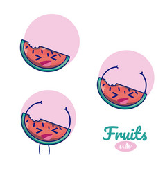 watermelons cute fruits cartoons vector image