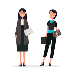 women team standing and smiling with invitations vector image