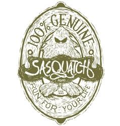 Woodcut Sasquatch Label vector