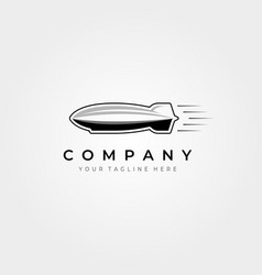 Zeppelin airship icon logo vintage design vector