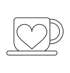 cup coffee love heart hot outline vector image vector image