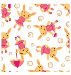 Cute rabbits pattern1 vector image vector image