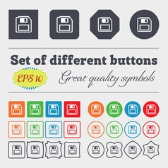 floppy disk icon sign Big set of colorful diverse vector image vector image