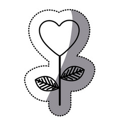 monochrome sticker silhouette with branch with vector image