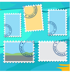 set of blank template in the form of postage vector image