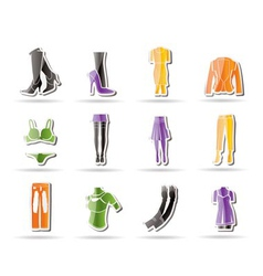 Woman and female clothes simple icons vector
