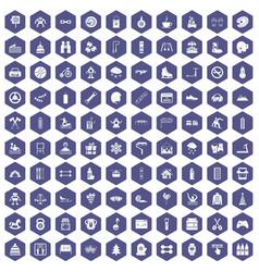 100 children activities icons hexagon purple vector