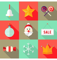 9 Christmas Flat Icons Set 1 vector image vector image