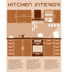 Brown and beige kitchen interior design in flat vector image vector image