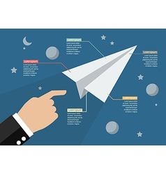 Hand launch paper rocket in space infographic vector image