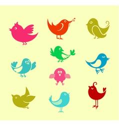 cartoon doodle birds vector image vector image