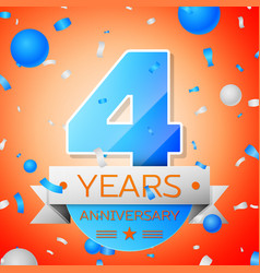 four years anniversary celebration vector image vector image
