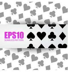 Seamless background playing card symbols vector image