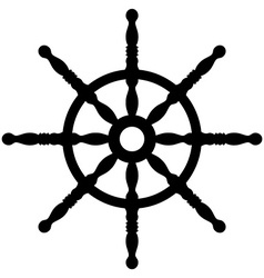 Ship wheel silhouette isolated on white vector image