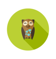 Brown Owl Flat Icon with Hearts over Green vector image