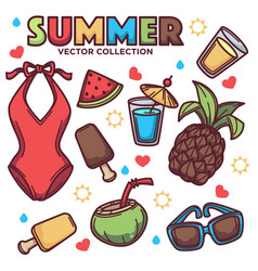 collection of summer tropical objects vector image