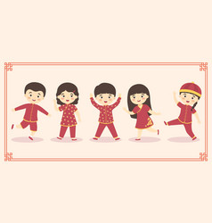 cute chinese kids boy girl costume set vector image vector image