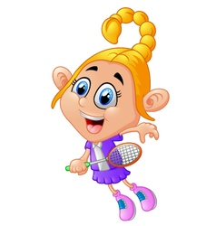 cute girl playing tennis vector image