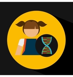 girl student laboratory dna icon vector image vector image