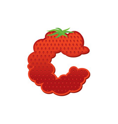 Letter c strawberry font red berry lettering vector