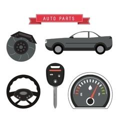 Machine icon set Auto part design graphic vector image
