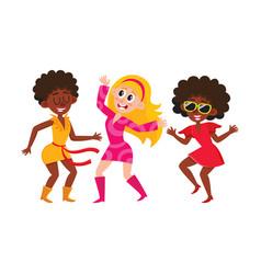 set of cartoon style retro disco dancers black vector image