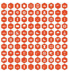 100 cycling icons hexagon orange vector
