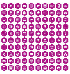 100 network icons hexagon violet vector image
