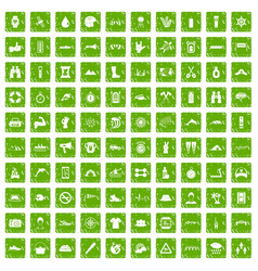 100 rafting icons set grunge green vector