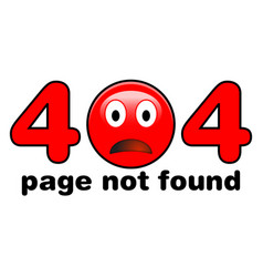 404 page not found red sad emoji face instead of vector image