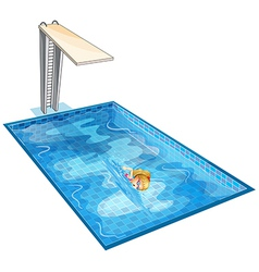 A girl swimming at the pool with a diving board vector image