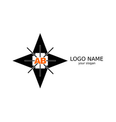 ab letters are orange on the background of a vector image