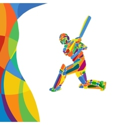 Abstract cricket player color vector image