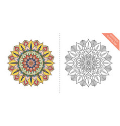 Antistress coloring page mandala sixth vector